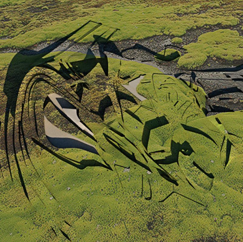 volcano green landscape